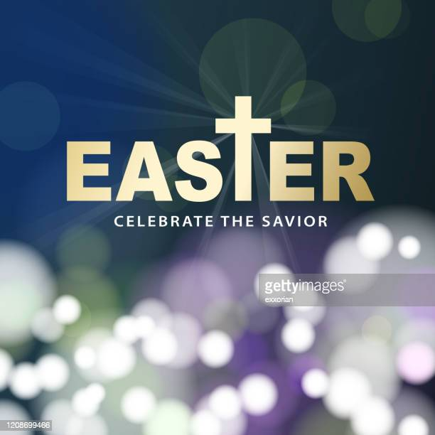 easter sparkling lights background - easter religious stock illustrations