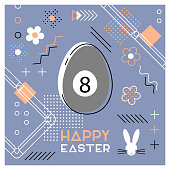 Easter sports greeting card. Abstract Memphis design. Billiard.
