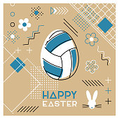 Easter sports greeting card. Abstract Memphis design. Volleyball.