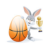Easter sports greeting card. Basketball.
