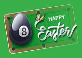 Easter sports greeting card. Billiard.