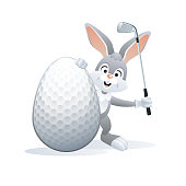 Easter sports greeting card. Golf.