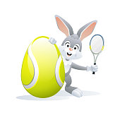 Easter sports greeting card. Tennis.