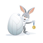 Easter sports greeting card. Volleyball.