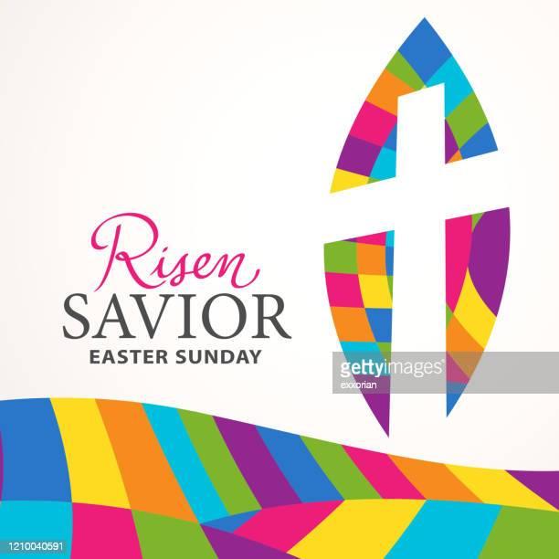 ilustraciones, imágenes clip art, dibujos animados e iconos de stock de celebración del domingo de pascua - catolicismo