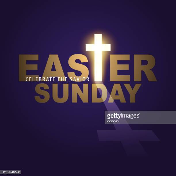 easter sunday glowing cross - good friday stock illustrations