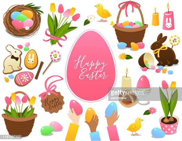 easter symbols and treats - easter stock illustrations
