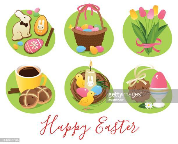 easter symbols and treats - sweet bun stock illustrations, clip art, cartoons, & icons