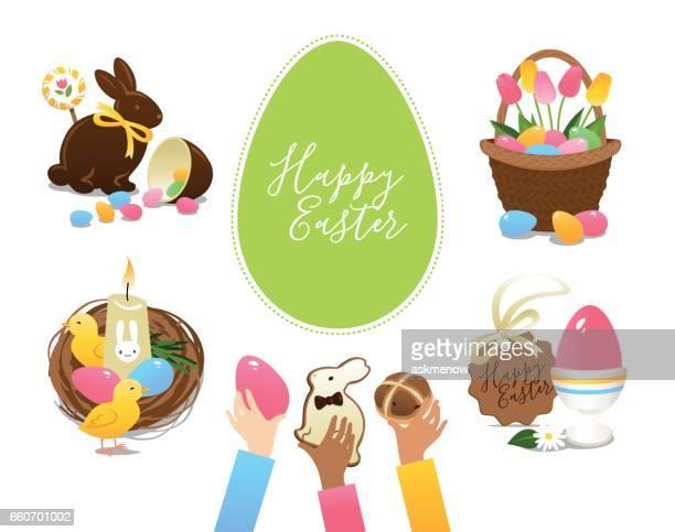 Ostern-Symbole und Leckereien