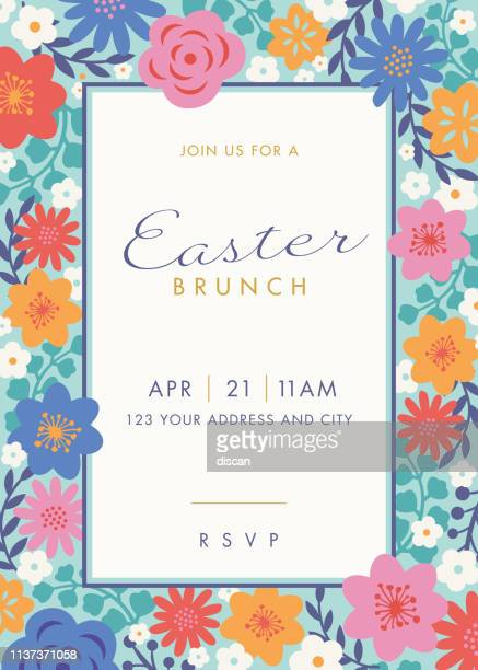 easter themed invitation design template - easter sunday stock illustrations
