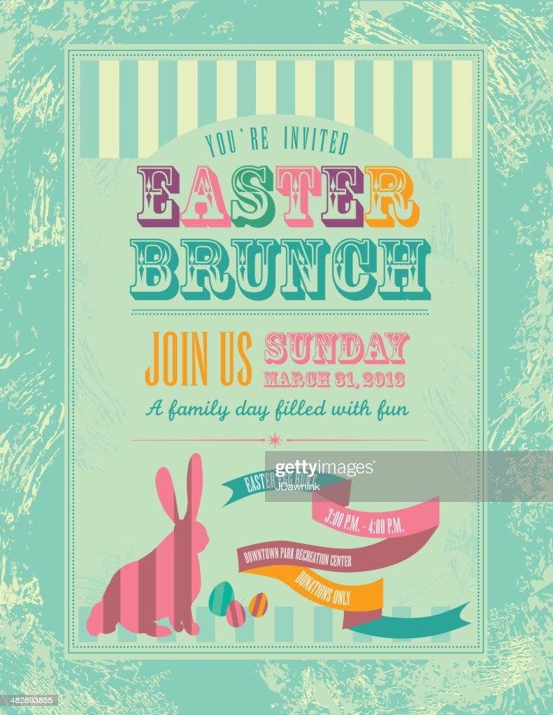Easter themed invitation design template : Vector Art