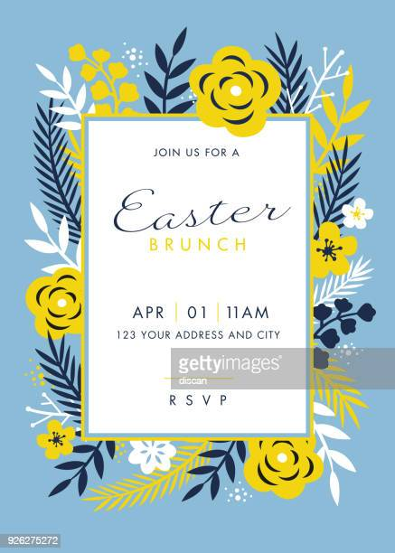 easter themed invitation design template - easter stock illustrations