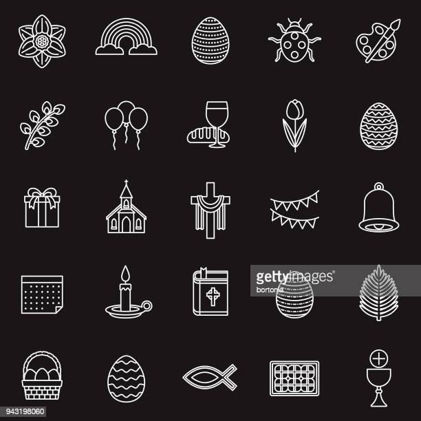 easter thin line icon set - palm sunday stock illustrations