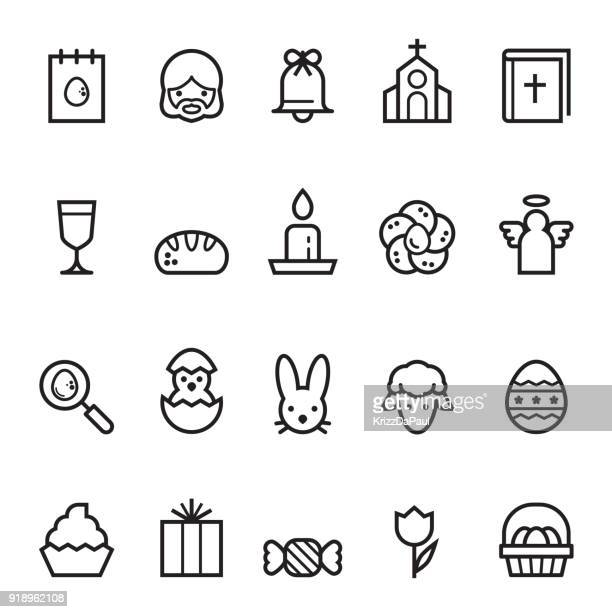 easter thin line icons - easter bunny stock illustrations