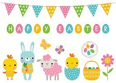 Easter vector cartoon characters
