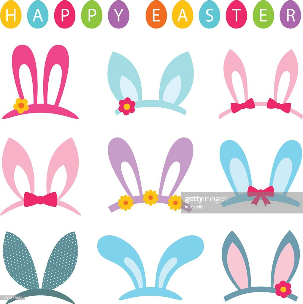 Easter vector photo booth props set