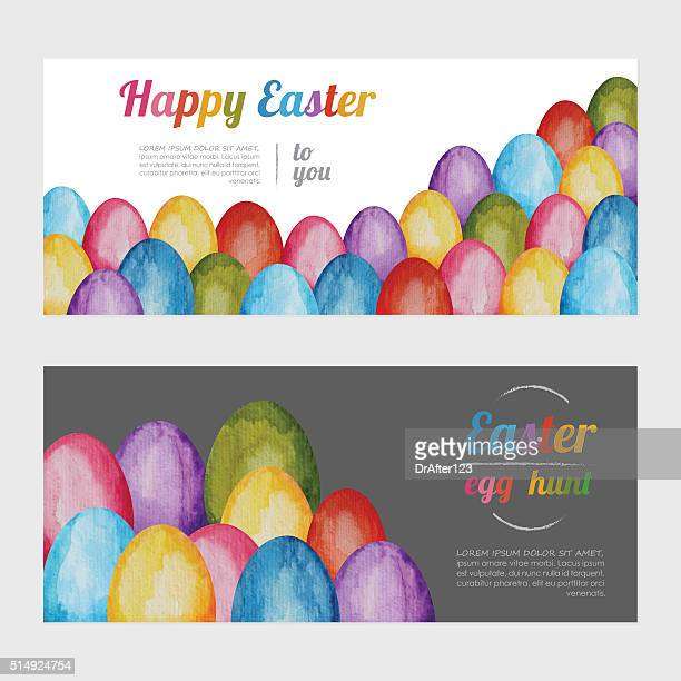 easter watercolor banners - easter egg hunt stock illustrations, clip art, cartoons, & icons
