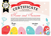 Easter white certificate with bunny, multicolored eggs