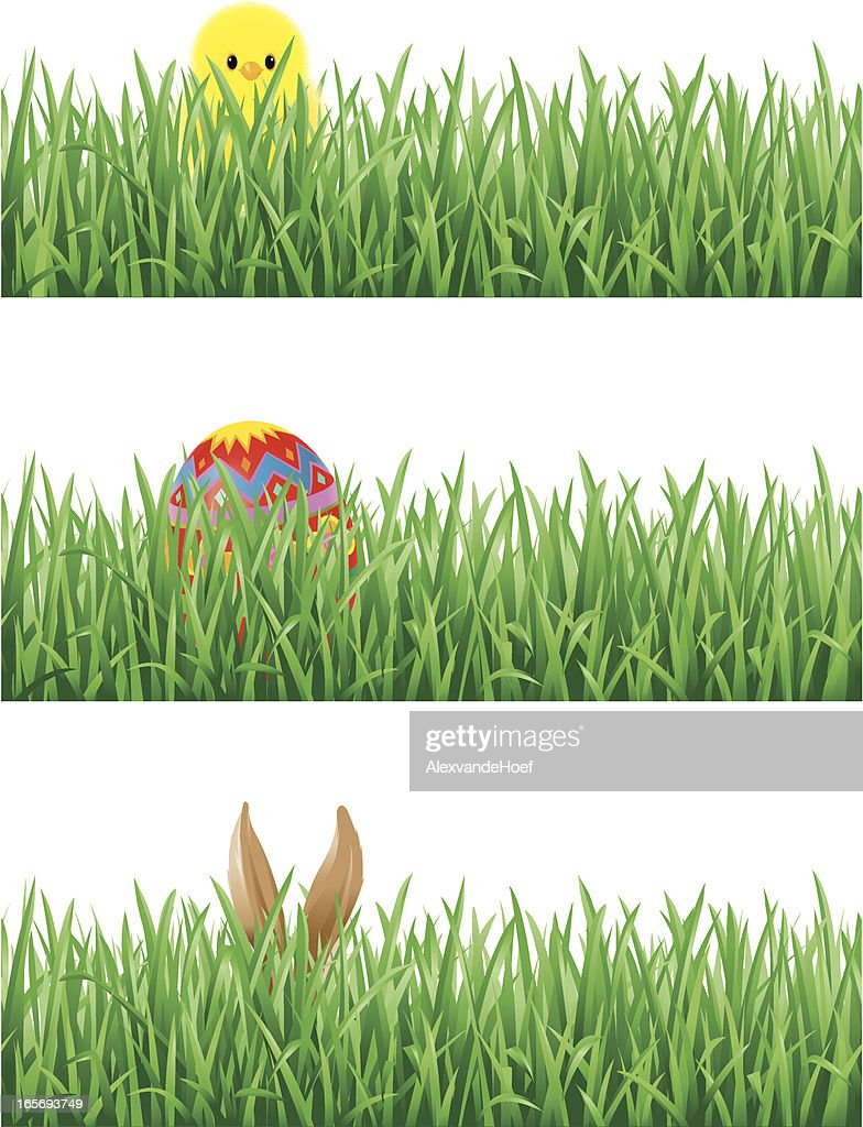 Eastern Egg, Bunny Ears and Chick in Grass : stock illustration