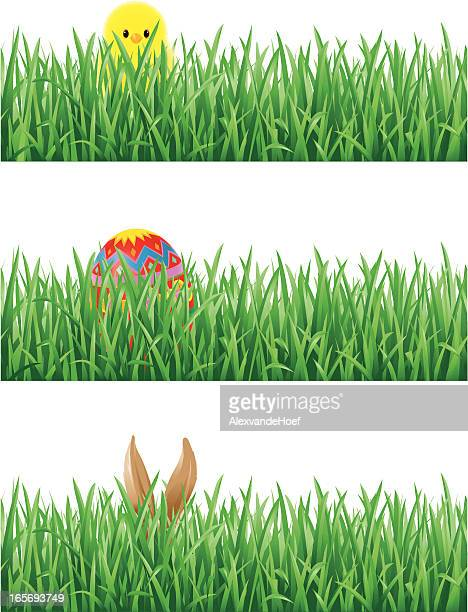 eastern egg, bunny ears and chick in grass - easter bunny stock illustrations, clip art, cartoons, & icons