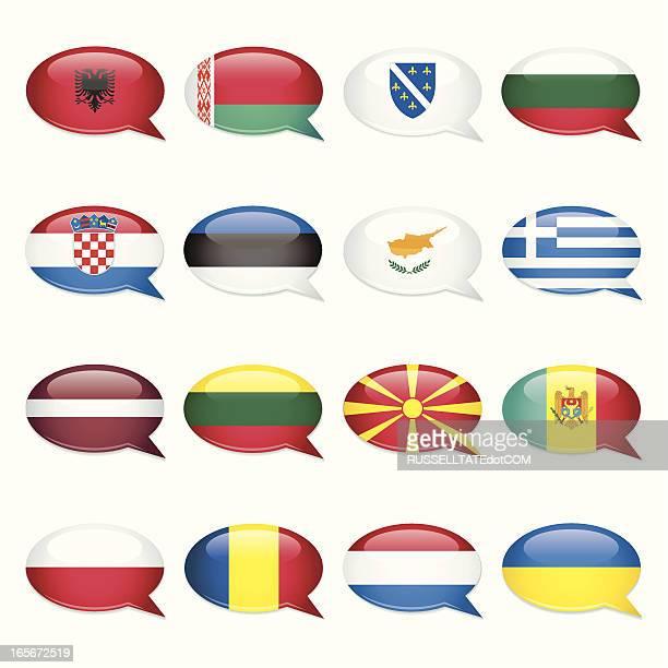 eastern europe speech bubble flags - greece v albania stock illustrations