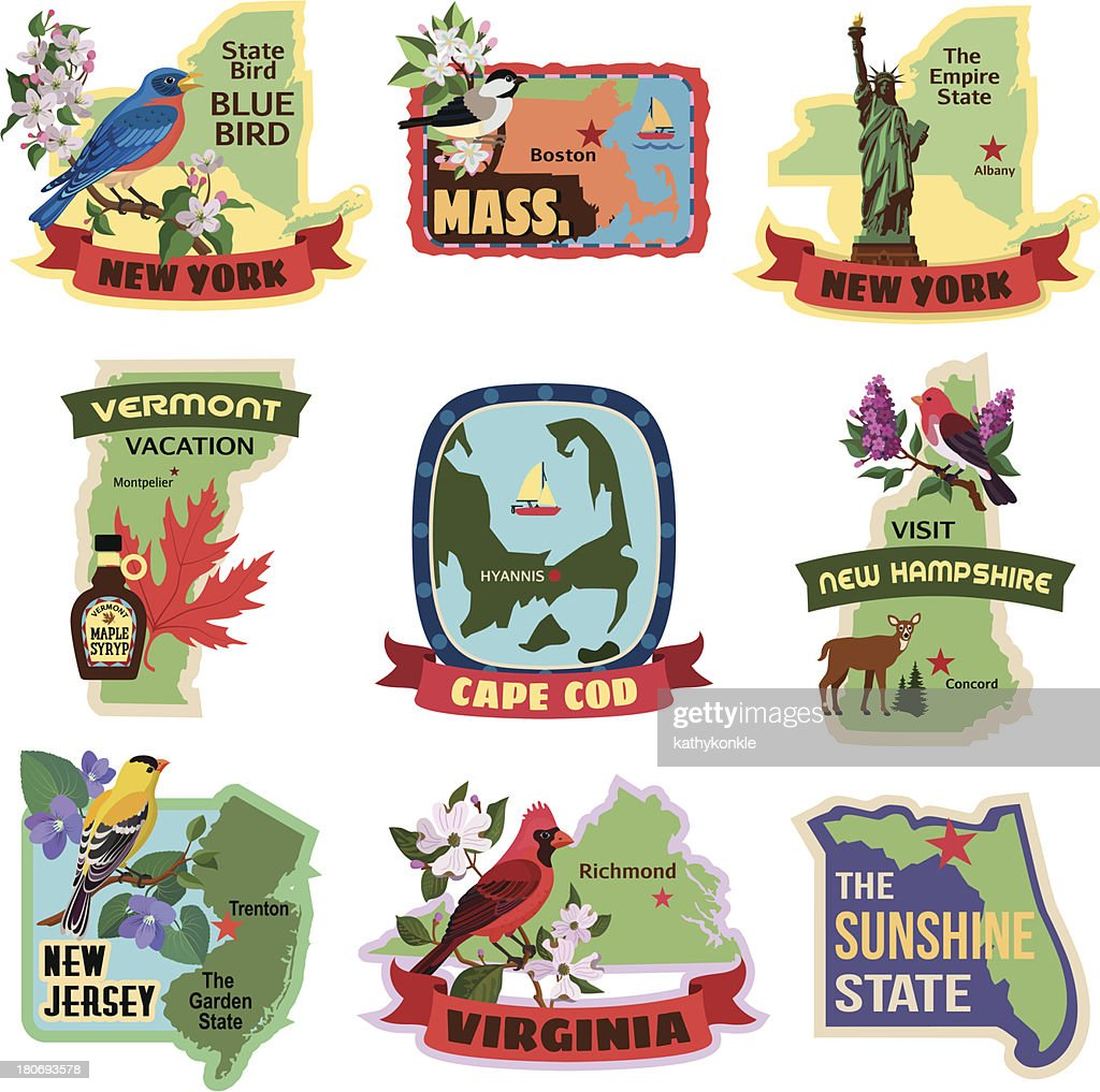 eastern states luggage labels or travel stickers vector art getty