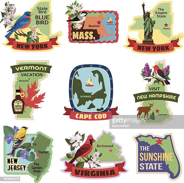eastern states luggage labels or travel stickers - new hampshire stock illustrations