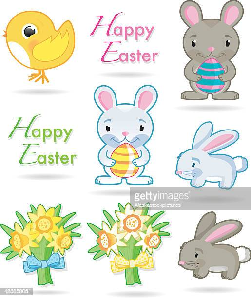 easterobjects - paperwhite narcissus stock illustrations, clip art, cartoons, & icons
