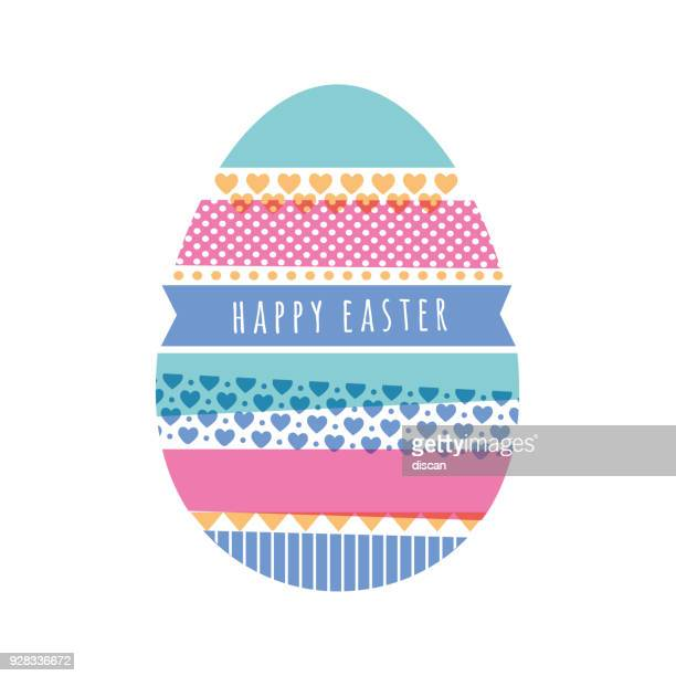 easter's day card with washi tape - easter stock illustrations, clip art, cartoons, & icons