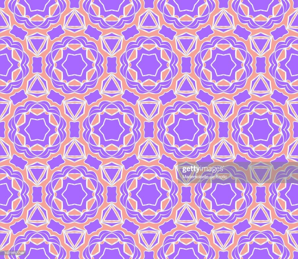 Easy festive ornament from abstract flower in the style of geometric transformations. Vector. For registration backgrounds, greeting cards, design. Seamless pattern