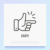 Easy symbol, snapping fingers. Thin line icon. Modern vector illustration.
