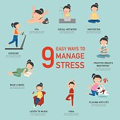 Easy ways to manage stress,infographic,illustration