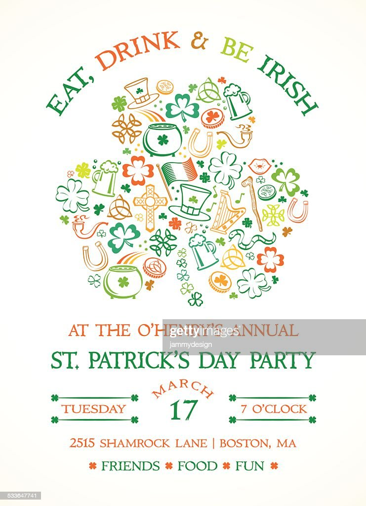 Eat Drink And Be Irish Colorful Celtic Symbols Shamrock Vector Art