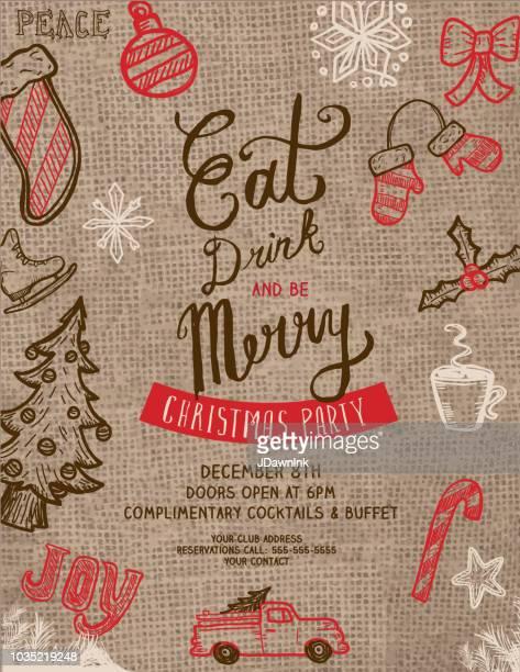 食べる、飲むとメリー クリスマスのあいさつ招待のあるデザイン テンプレート - 荒い麻布点のイラスト素材/クリップアート素材/マンガ素材/アイコン素材
