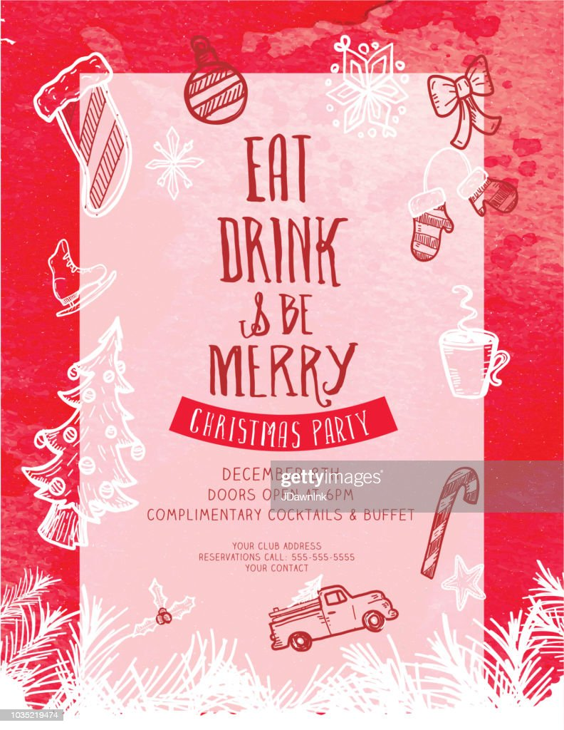 Eat Drink And Be Merry Christmas Greeting Invitation Design Template