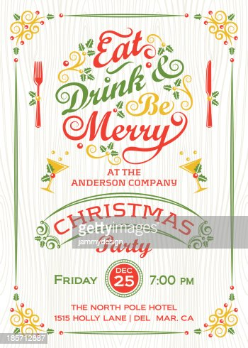 Eat Drink And Be Merry Christmas Party Stock Illustration