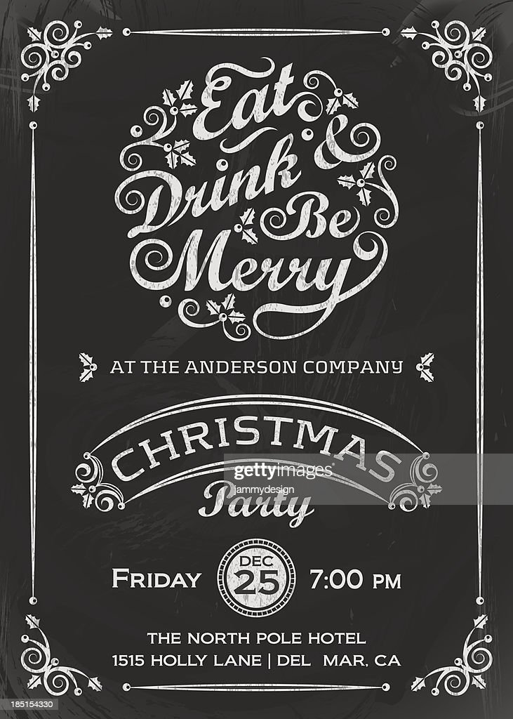 Eat, Drink, and Be Merry Invitation : Vector Art