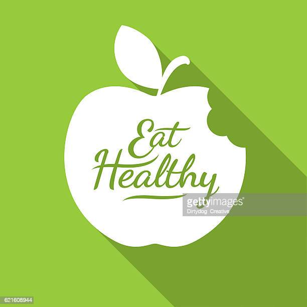 Eat Healthy Apple flat icon, Diet concept