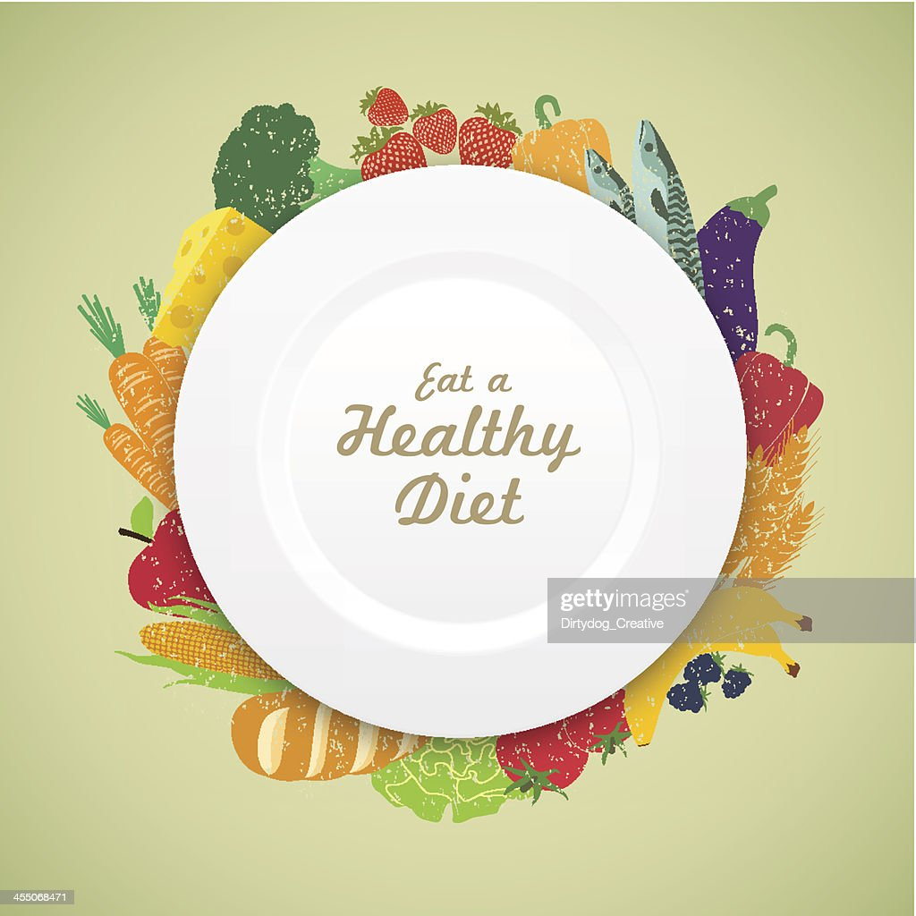 Eat Healthy Diet plate on a fresh variety of produce