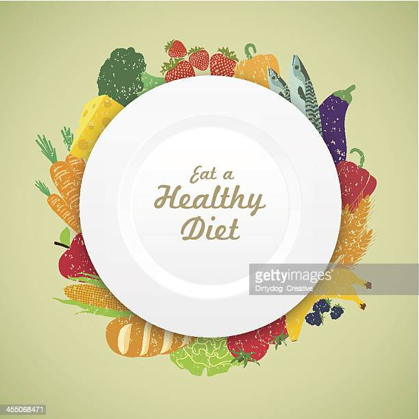 eat healthy diet plate on a fresh variety of produce - healthy eating stock illustrations, clip art, cartoons, & icons