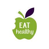 Eat Healthy Lettering on Bitten Apple