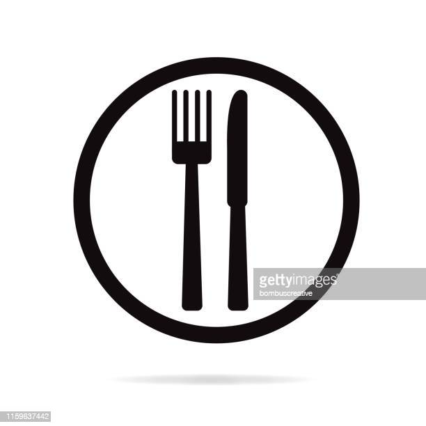 eat icon - table knife stock illustrations