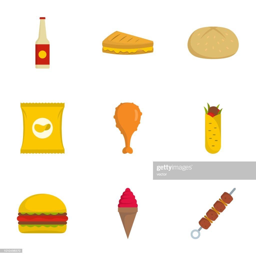 Eat icons set, flat style