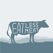 Eat less meat. Cow silhouette graze in the field, landscape, sky, grass, pasture. Blue, gray background. Pollution problem concept Eco, ecology banner poster. Vector