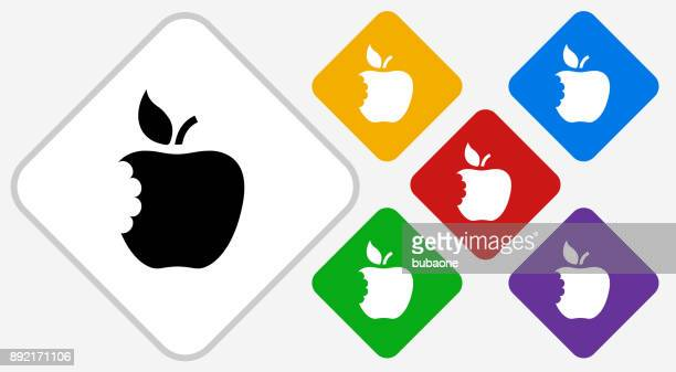 Eaten Apple Color Diamond Vector Icon