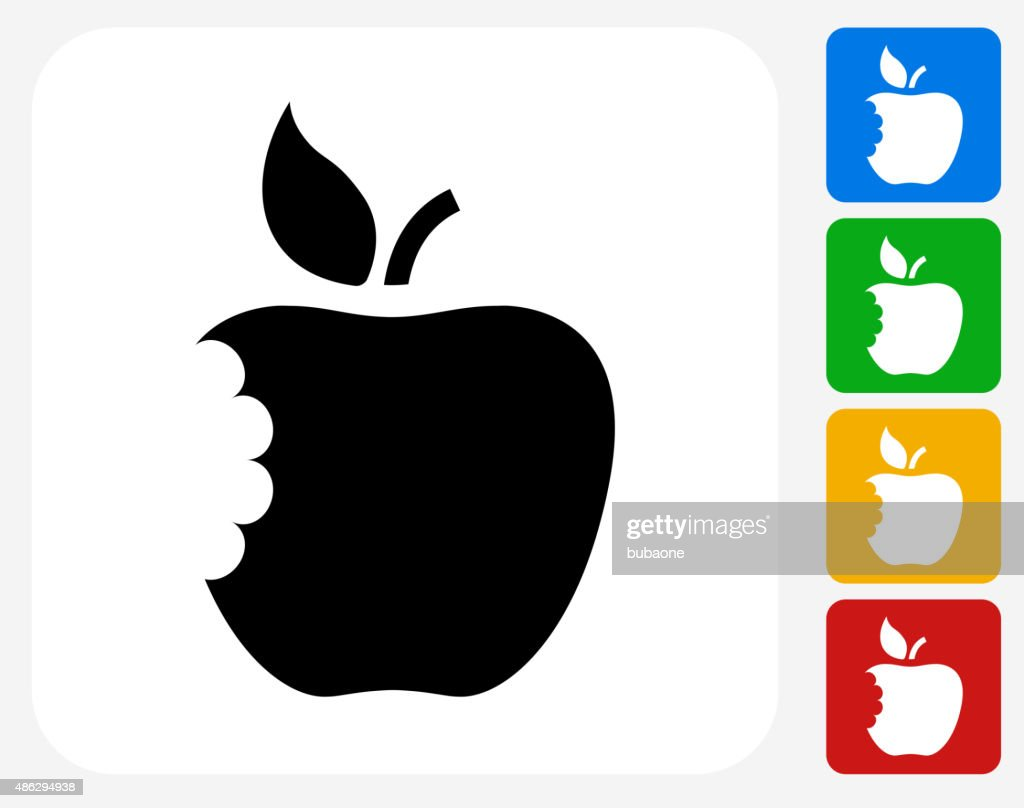 Eaten Apple Icon Flat Graphic Design