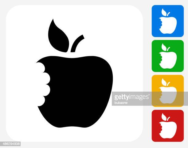 Eaten Apple Icon Flat Graphic Design