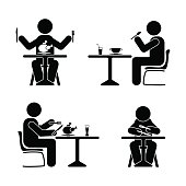 Eating and drinking pictogram. Stick figure black and white boy set
