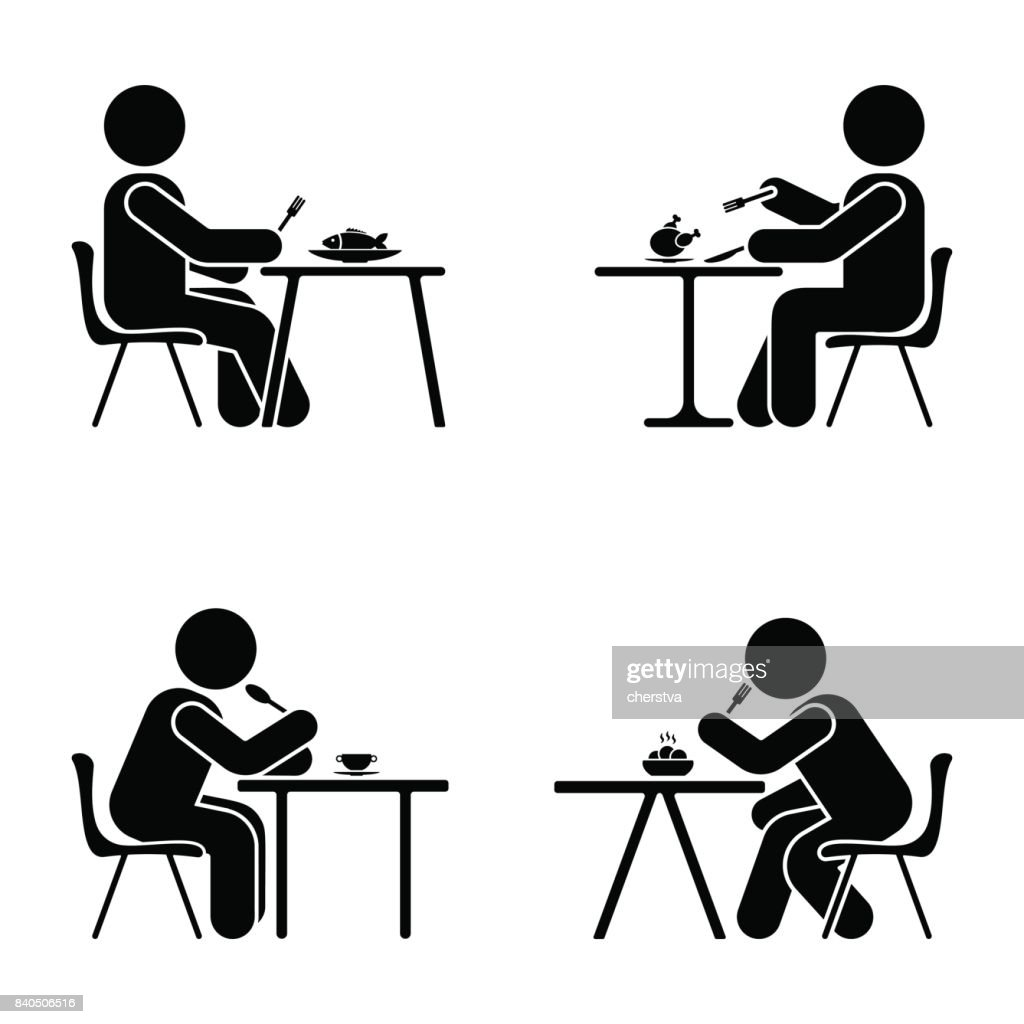 Eating and sitting vector pictogram. Stick figure black and white boy set symbol icon on white