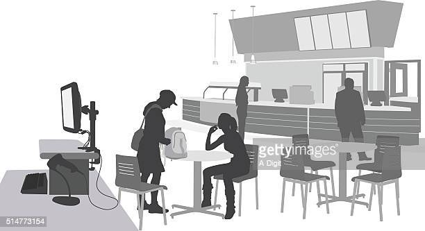 eating at the school cafeteria - display cabinet stock illustrations, clip art, cartoons, & icons